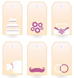 Retro wedding tags or labels set isolated on white vector