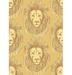 Sketch cute lion in vintage style vector