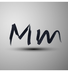 Calligraphic hand-drawn marker or ink letter m vector