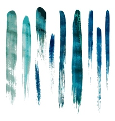 Blue watercolor brush strokes vector