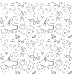 Doodle pattern with tea cups and sweets vector