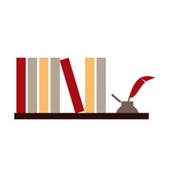 Books and inkwell vector