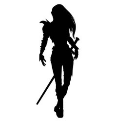 Knight woman silhouette vector
