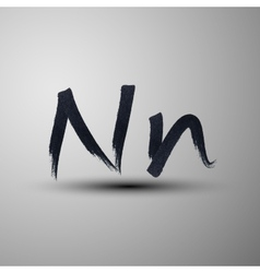 Calligraphic hand-drawn marker or ink letter n vector