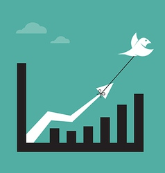 Images of birds and business graph vector