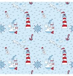 Nautical sea seamless pattern vector
