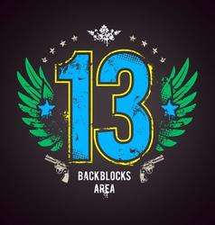 Grunge 13 number vector