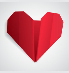 Big red origami heart vector