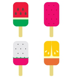 Set of fruity popsicles vector