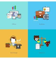 Finance exchange icons flat vector