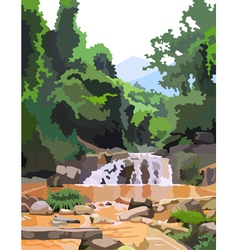 Background forest with mountain river vector