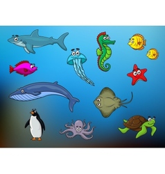 Cartoon happy smiling sea animals characters vector