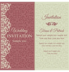 Baroque invitation pink and beige vector