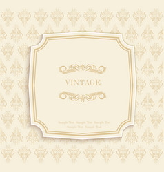 Gold vintage invitation and greeting card vector