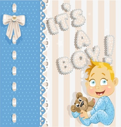 Its a boy blue lovely announcement card vector