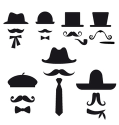 Mustache and hats set vector