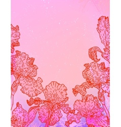 Card with iris flowers on pink watercolour vector