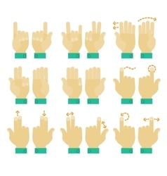 Multitouch gesture hands icons set vector