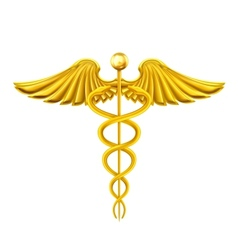 Golden caduceus vector