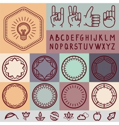 Set of outline design elements vector
