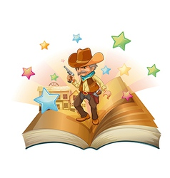 An open book with an armed cowboy vector