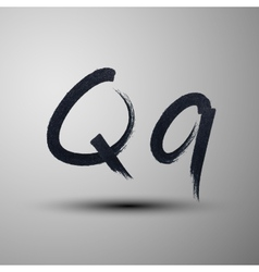 Calligraphic hand-drawn marker or ink letter q vector