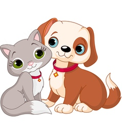 Dog and cat best friends ever vector