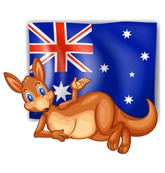 A kangaroo in front of the australian flag vector
