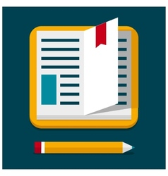 Flat book with pen vector
