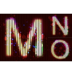 Neon light alphabet - mno vector