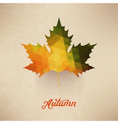 Autumnal maple leaf background made of triangles vector