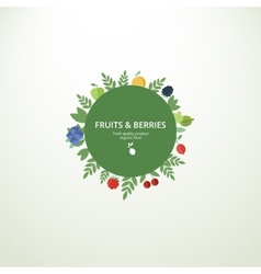 Label with fresh fruits and berries vector