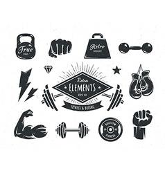 Retro fitness elements vector