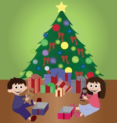 Twins opening christmas gifts vector