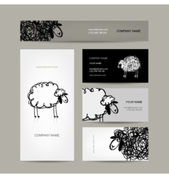 Set of business cards design sheep sketch vector