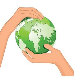 Encourage hands save planet vector