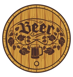 Barrel of beer wooden barrel for beer vector