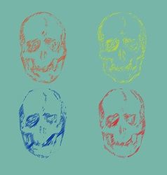 Set of skulls isolated on background vector
