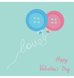 Blue pink button balloons love thread card flat vector