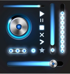 Equalizer and player metal buttons with track bar vector