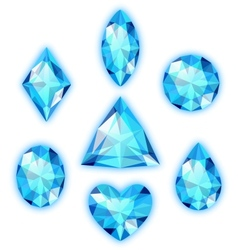 Set of blue gems isolated on white vector