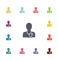 Doctor flat icons set vector