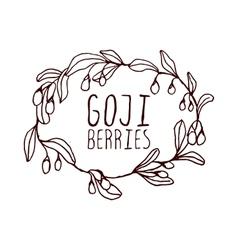 Goji berries hand-sketched typographic element vector