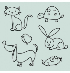 Animal drawings vector