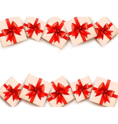 Holiday background with gift boxes and red bows vector