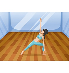A room with a girl performing yoga vector