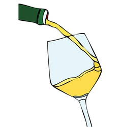 Glass of white wine vector