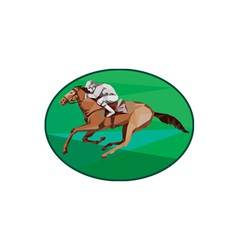 Jockey horse racing oval low polygon vector