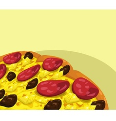 Pizza with sausage banner vector