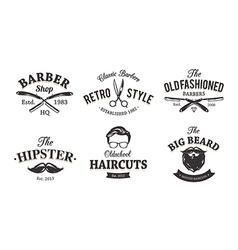 Retro barber emblems vector